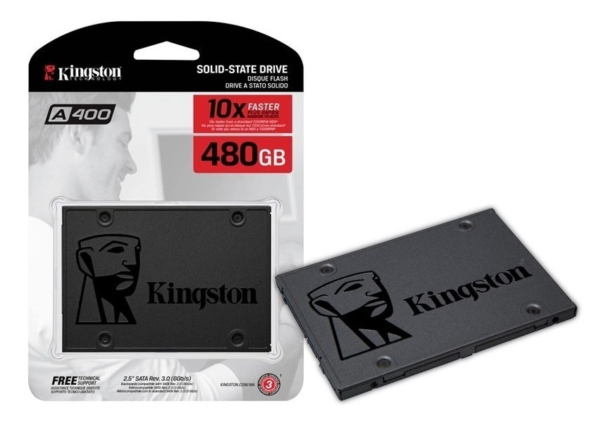 Unidad De Estado Solido Kingston A400, 480Gb, Sata 6Gb/S, 2.5, 7Mm, Tlc